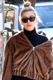 Hailey Baldwin in Brown Jacket & Black Lower Stills Out and About in New York