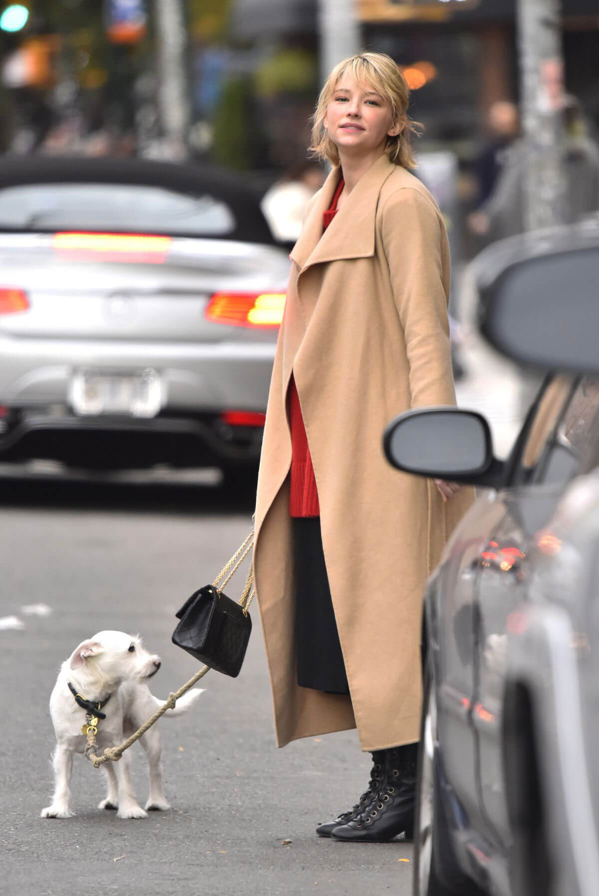 Haley Bennett wears Long Winter Coat Out with Her Dog in New York