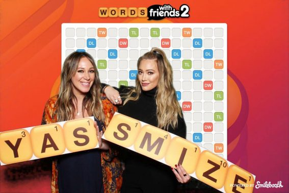 Hilary Duff and Haylie Duff Stills at Words with Friends 2 Launch Party Photo-booth in West Hollywood