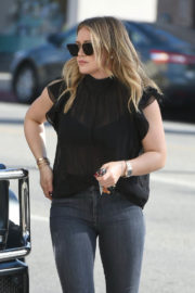 Hilary Duff wears in Black Top & Tight Jeans Out in Los Angeles