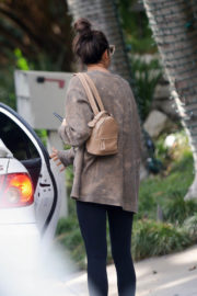 Irina Shayk wears Chocolate Color Top & Navy Blue Tight Leaves a Gym in Los Angeles