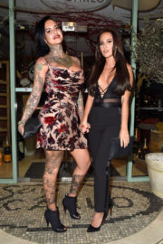 Jemma Lucy and Yazmin Oukhellou Stills Leaves San Carlo Restaurant in Manchester