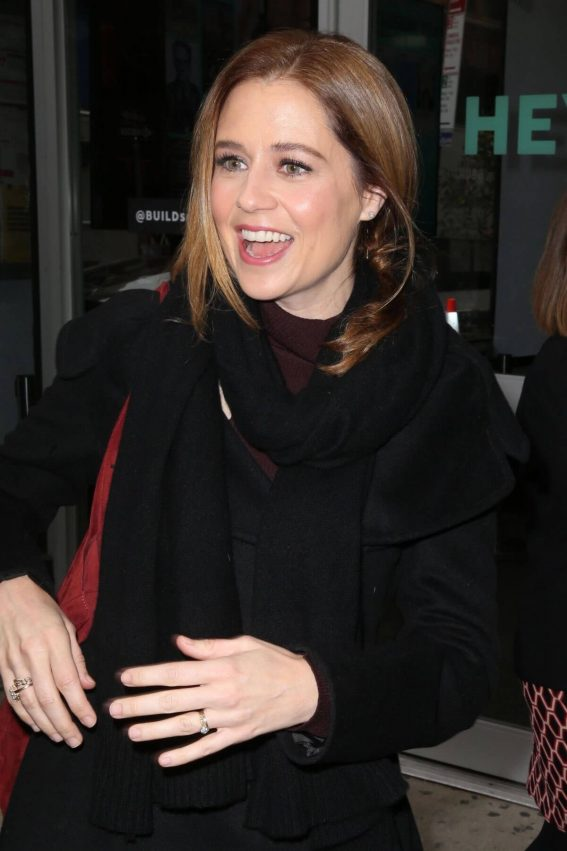 Jenna Fischer wears Black Winter Outfit Out and About in New York