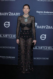 Jessica Biel wears Black Lingerie in Transparent Outfit at 2017 Baby2Baby Gala in Los Angeles