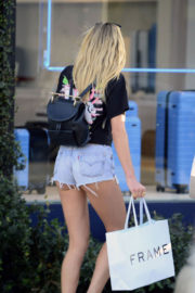Jessica Hart Stills in Denim Shorts Out in Los Angeles