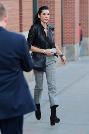 Julianna Margulies wears Leather Jacket & Grey Trousers Out and About in New York