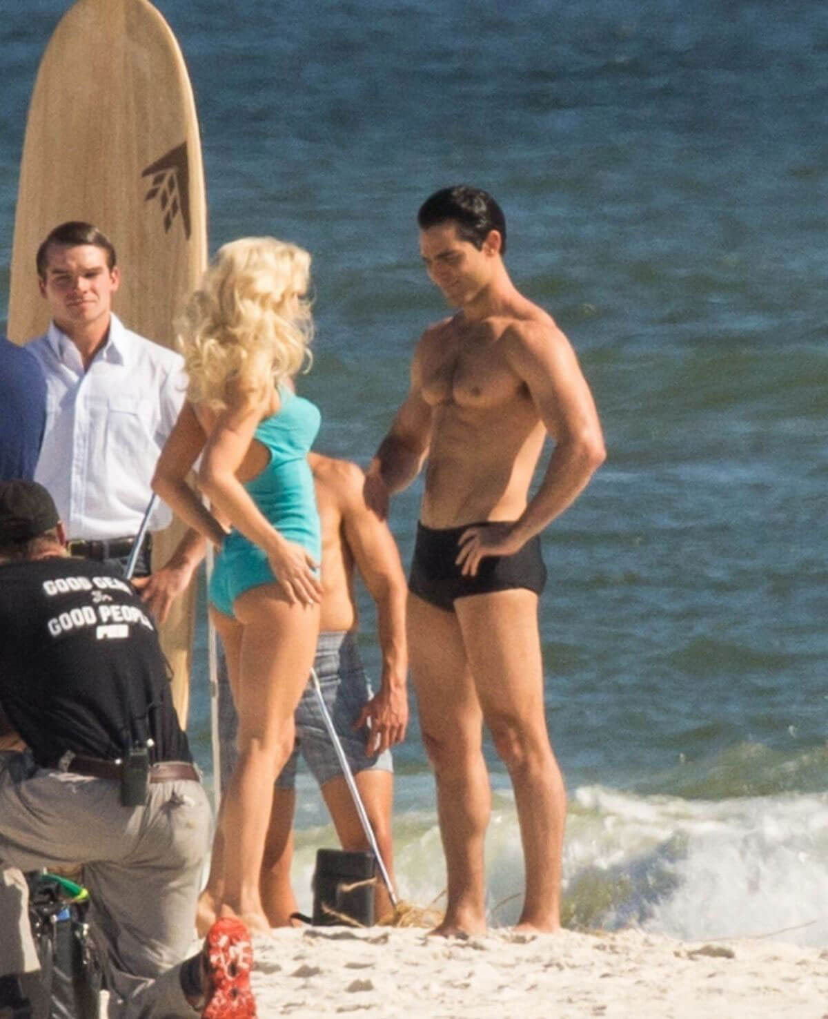 Julianne Hough in Blue Swimsuit on the Set of Bigger in Orange Beach