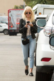 Julianne Hough wears Black Leather Jacket & Denim Jeans Out and About in Studio City