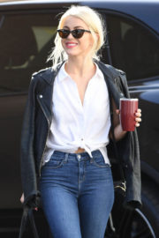 Julianne Hough wears Black Leather Jacket & White Shirt Out and About in Los Angeles