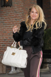 Juno Temple wears Black Jacket & Lower Out and About in New York