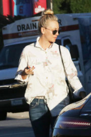 Kaley Cuoco wears Horse Design Shirt & Jeans Leaves a Nail Salon in Los Angeles