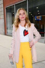 Kate Bosworth wears Yellow Pants Out and About in New York