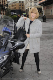 Kate Garraway wears Winter Coat & Transparent Bottom Arrives at Global Radio in London