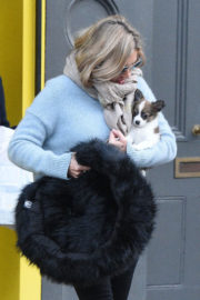 Kate Moss wears Grey Sweatshirt and Black Jeans Out in Primrose Hill