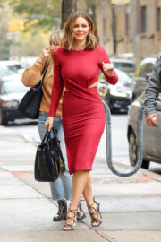 Katharine McPhee in Tight Red Dress Arrives at ABC Studios in New York