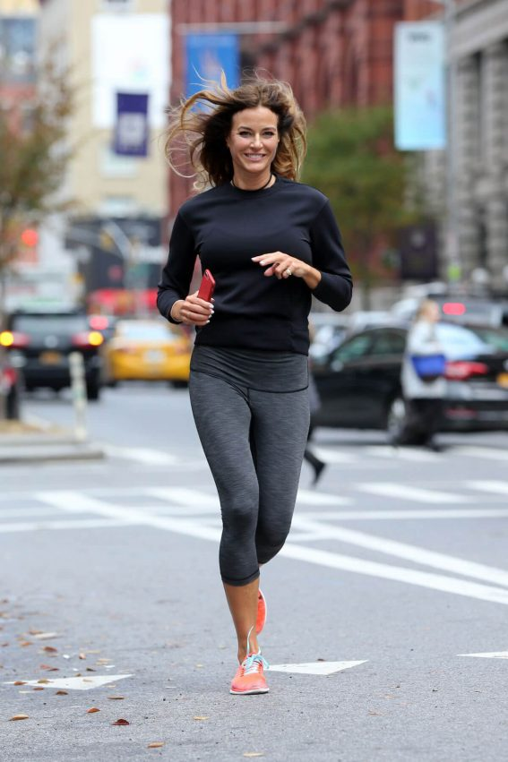 Kelly Bensimon wears Black Top & Tights Out Jogging in New York