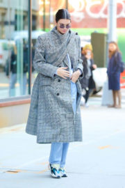 Kendall Jenner in Long Winter Coat & Ripped Jeans Out and About in New York