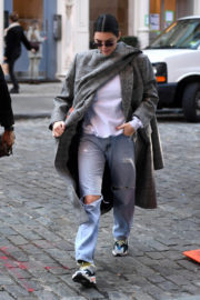 Kendall Jenner Stills in Ripped Jeans Out for Lunch in New York