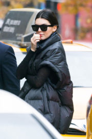Kendall Jenner wears Black Puffer Jacket Stills Out in New York