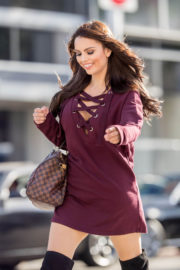 Krystle Lina wears Purple Short Dress Out and About in Beverly Hills