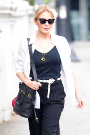 Kylie Minogue in Black Tank Top with Pants Stills Out and About in London