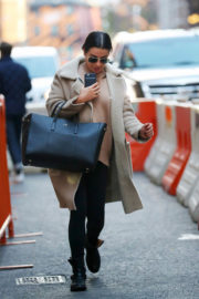 Lea Michele wears Winter Coat & Tight Bottoms Out and About in New York
