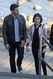 Lucy Hale Stills on the Set of Life Sentence in Vancouver Photos