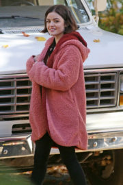Lucy Hale wears Red Long Winter Jacket on the Set of Life Sentence in Vancouver