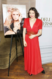 Madeleine Coghlan wears Red Dress at Eden Sassoon's LA Cover Party