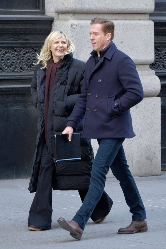 "Malin Akerman and Damien Lewis Stillson the Set of ""Billions"" in New York"