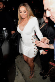 Mariah Carey shows off cleavage in White Dress Night Out in Los Angeles