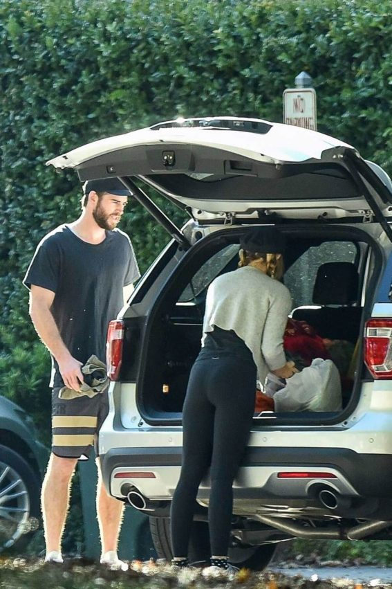 Miley Cyrus and Liam Hemsworth Stills Out Sopping in Savannah, November 2017
