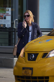 Mischa Barton wears Navy Blue Suit Hailing a Taxi Out in New York