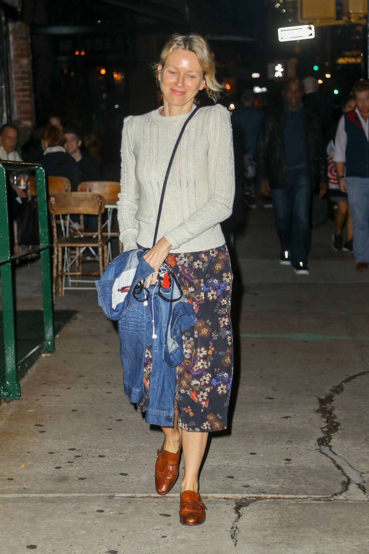 Naomi Watts wears Off White Sweater & Flowers Printed Skirt Night Out in New York