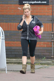 Nicola McLean wears Gym Shorts Leaves Yoga Class in London