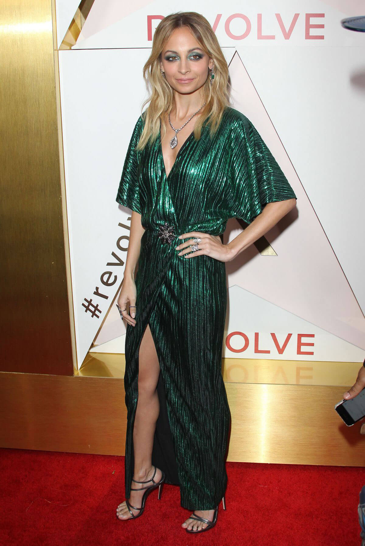 Nicole Richie wears Green Gown Dress Stills at #revolveawards in Hollywood