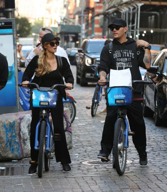 Paris Hilton and Chris Zylka Riding Bicycles Out in New York