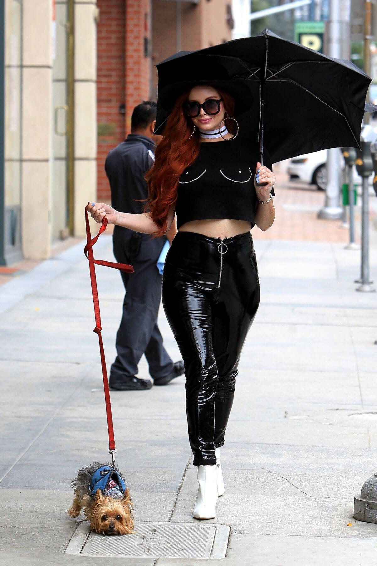 Phoebe Price wears Black Short Top Out and About in Beverly Hills