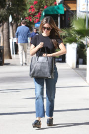 Rachel Bilson wears Black Tee & Denim Jeans Stills Out and About in Los Angeles