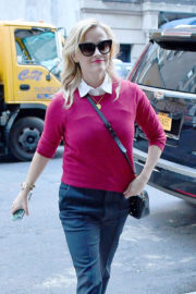 Reese Witherspoon wears Purple Sweater & Black Pants Out and About in New York