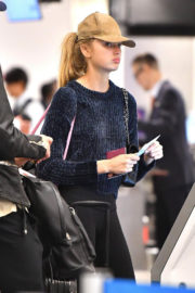 Romee Strijd and Josephine Skriver Stills at LAX Airport in Los Angeles
