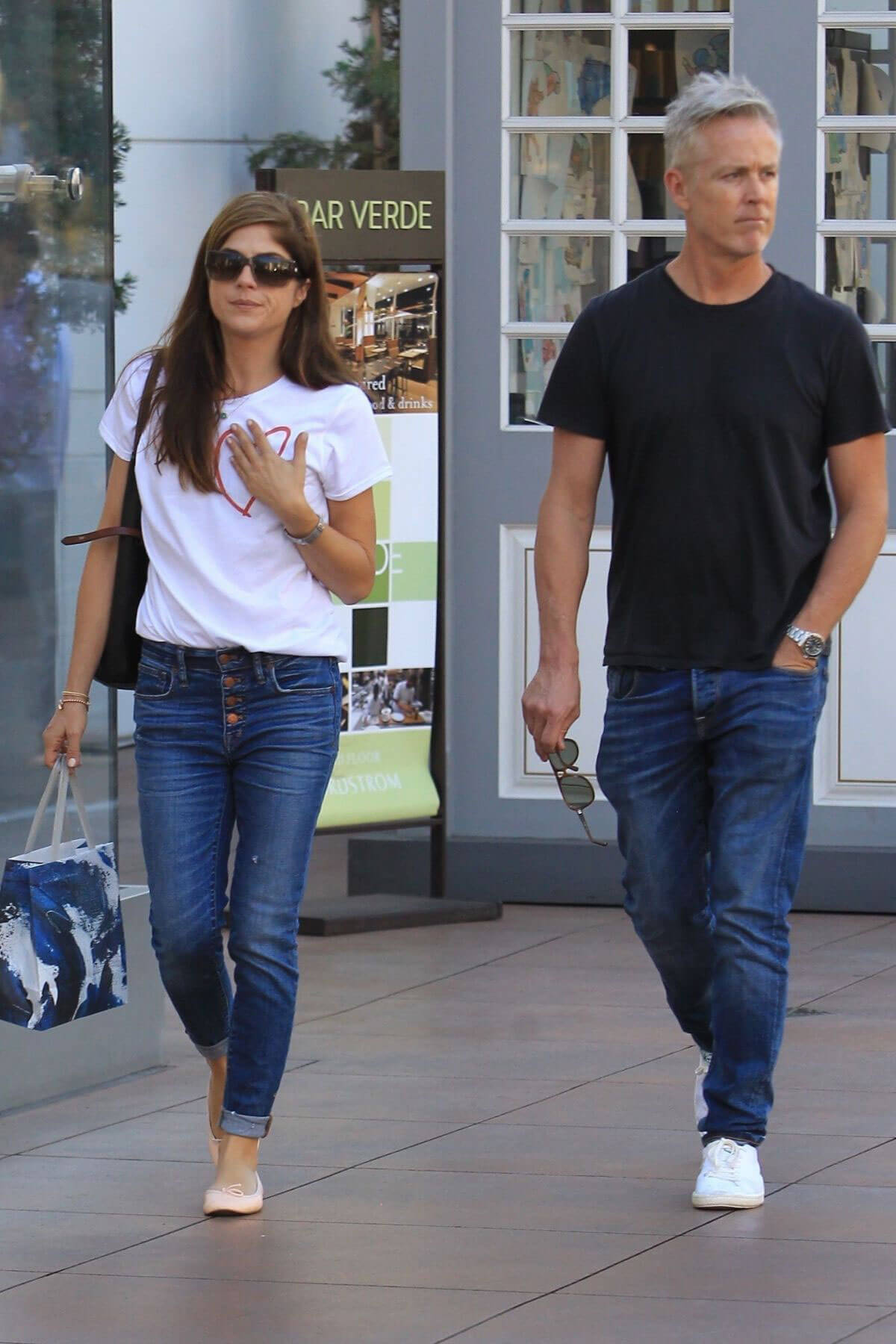 Selma Blair and Ron Carlson Stills in Jeans Shopping at The Grove in West Hollywood