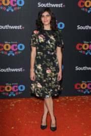 Sofia Espinosa wears Flower Dress at Coco Premiere in Los Angeles