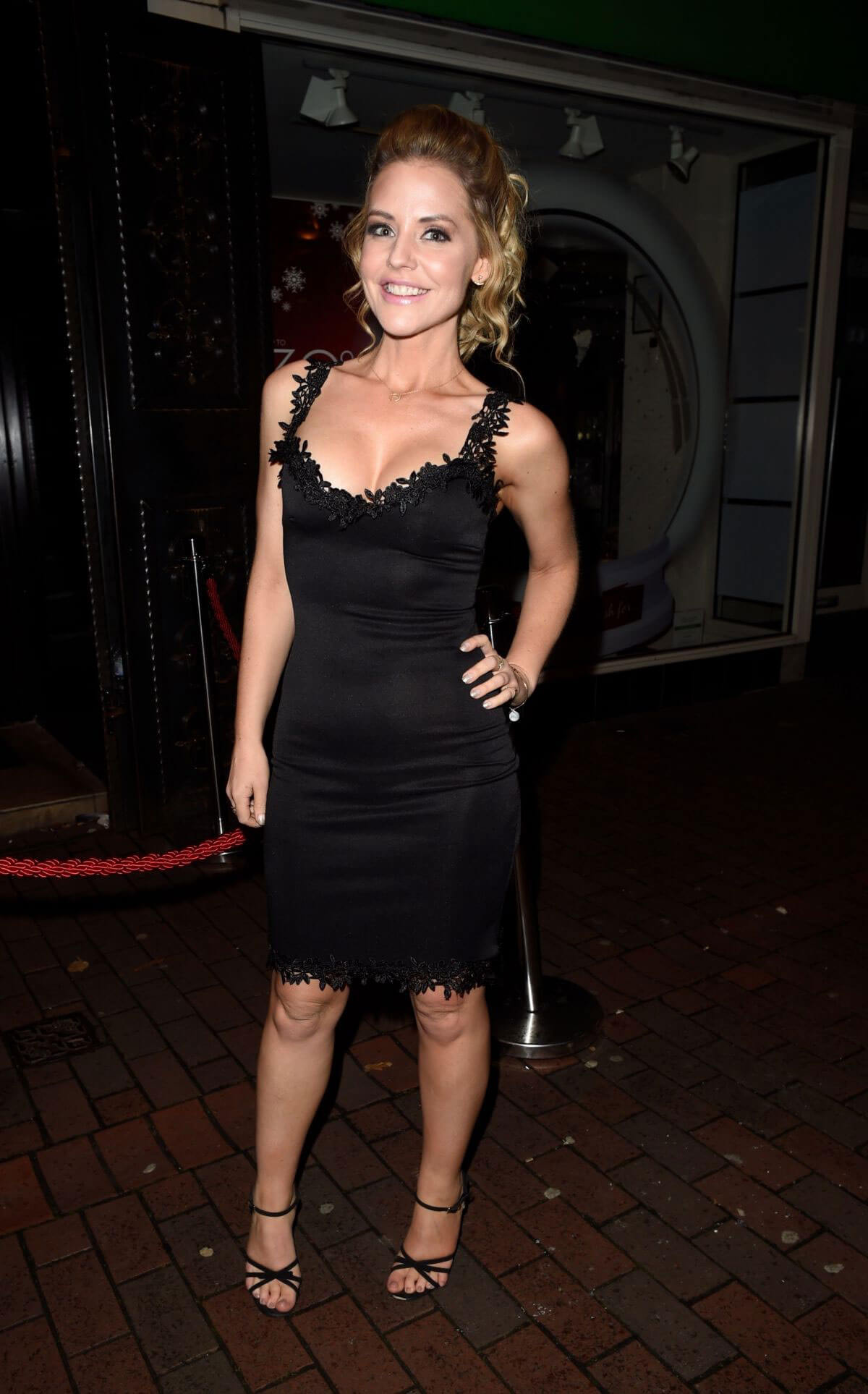Stephanie Waring wears Black Short Dress Night Out in Cheshire