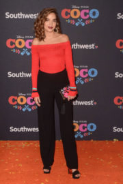 TV Actor Georgie Flores wears Red Black Outfit at Coco Premiere in Los Angeles