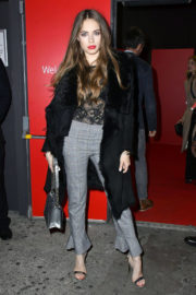 Xenia Tchoumitcheva wears Transparent Top & Grey Checked Trousers at Vodafone Passes Launch in London