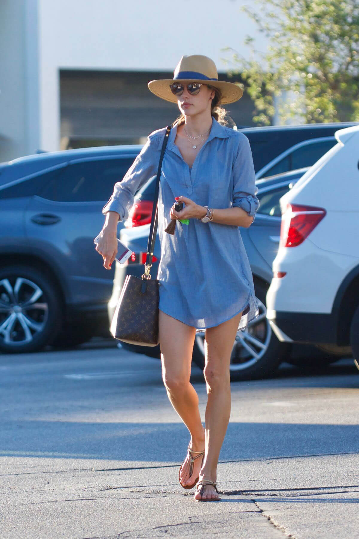 Alessandra Ambrosio in Blue Lagre Top Without Pants Out and About in Brentwood