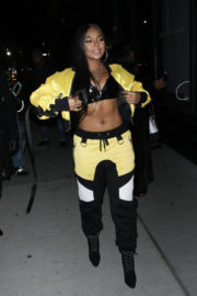 Ashanti shows off toned abs stills at AOL Build Series in New York