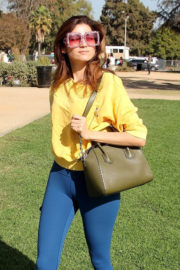 Blanca Blanco in Yellow Top & Navy Blue Tights Out and About in Beverly Hills