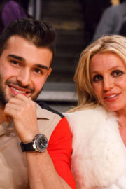 Britney Spears and Sam Asghari Stills at Lakers vs Golden State Warriors Game in Los Angeles